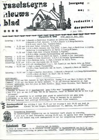 Ysselsteyns Nieuwsblad 1982-07-02