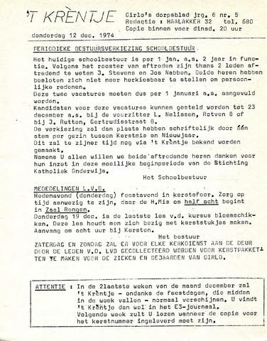 Oirlo's dorpsblad 't Krèntje 1974-12-12