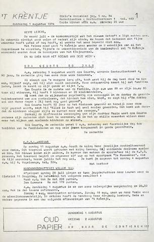 Oirlo's dorpsblad 't Krèntje 1974-08-01