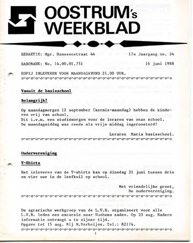 Oostrum's Weekblad 1988-06-16