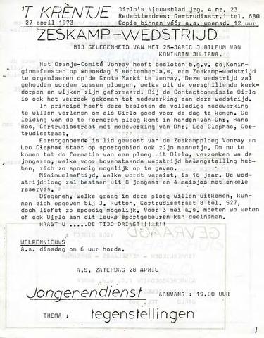 Oirlo's dorpsblad 't Krèntje 1973-04-27