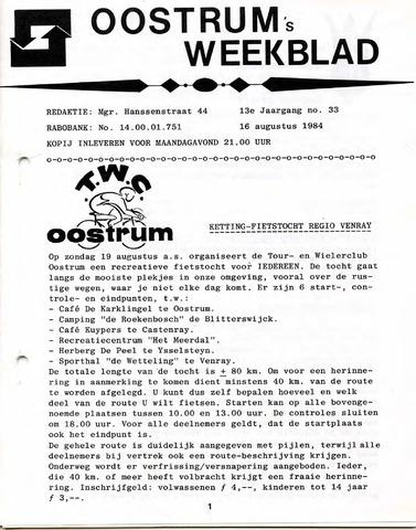 Oostrum's Weekblad 1984-08-16