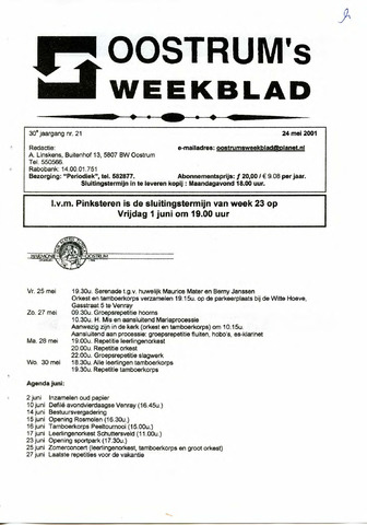 Oostrum's Weekblad 2001-05-24