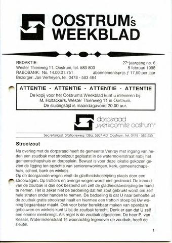 Oostrum's Weekblad 1998-02-05