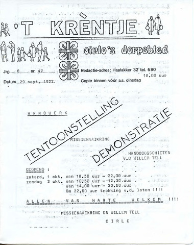 Oirlo's dorpsblad 't Krèntje 1977-09-29