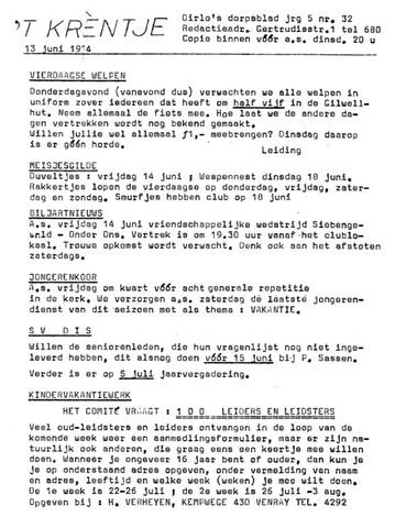 Oirlo's dorpsblad 't Krèntje 1974-06-13
