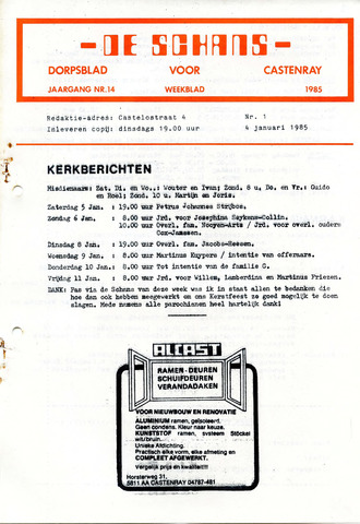 Castenrays dorpsblad De Schans 1985-01-04
