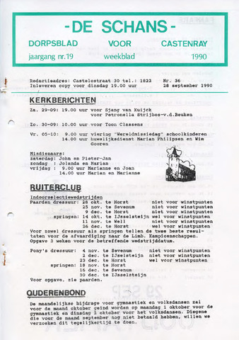 Castenrays dorpsblad De Schans 1990-09-28