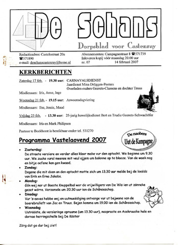 Castenrays dorpsblad De Schans 2007-02-14