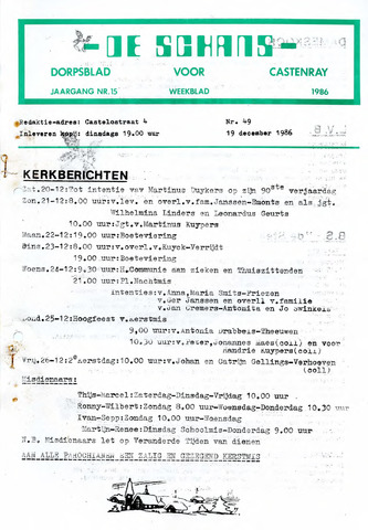 Castenrays dorpsblad De Schans 1986-12-19
