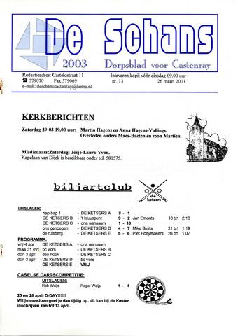 Castenrays dorpsblad De Schans 2003-03-26
