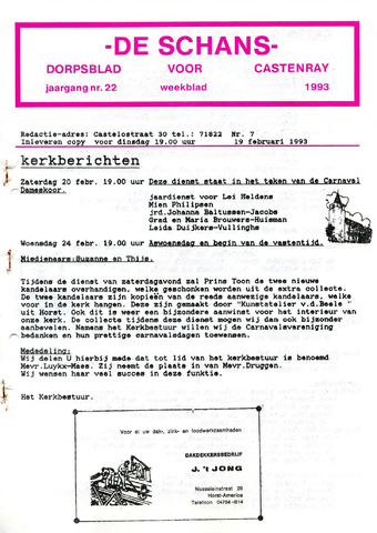 Castenrays dorpsblad De Schans 1993-02-19