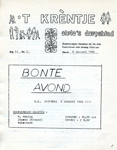 Oirlo's dorpsblad 't Krèntje 1980