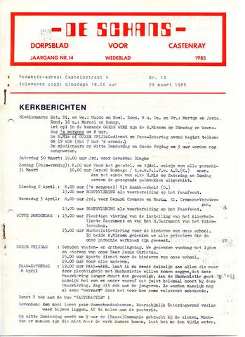 Castenrays dorpsblad De Schans 1985-03-29