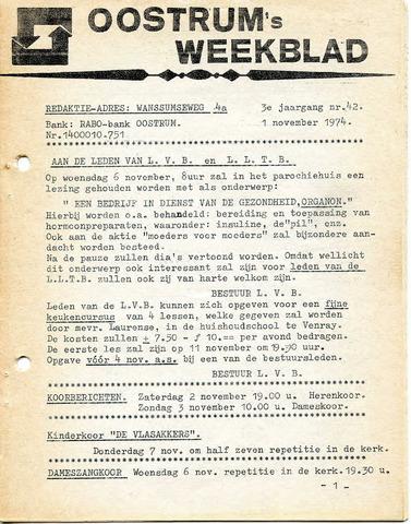 Oostrum's Weekblad 1974-11-01