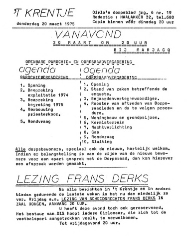 Oirlo's dorpsblad 't Krèntje 1975-03-20