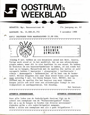 Oostrum's Weekblad 1988-11-03