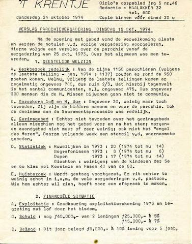 Oirlo's dorpsblad 't Krèntje 1974-10-24