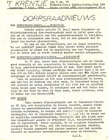 Oirlo's dorpsblad 't Krèntje 1974-02-07