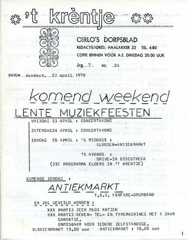 Oirlo's dorpsblad 't Krèntje 1976-04-22