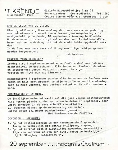 Oirlo's dorpsblad 't Krèntje 1970-09-04