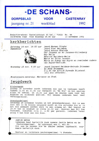Castenrays dorpsblad De Schans 1992-11-13