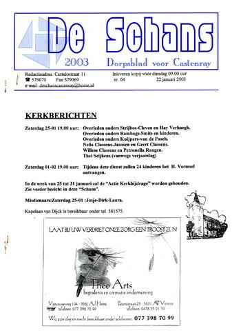 Castenrays dorpsblad De Schans 2003-01-22