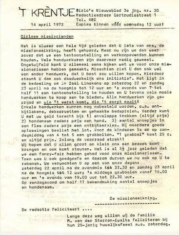 Oirlo's dorpsblad 't Krèntje 1972-04-14