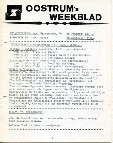 Oostrum's Weekblad 1976-09-30