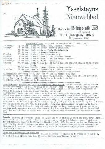 Ysselsteyns Nieuwsblad 1980-02-22