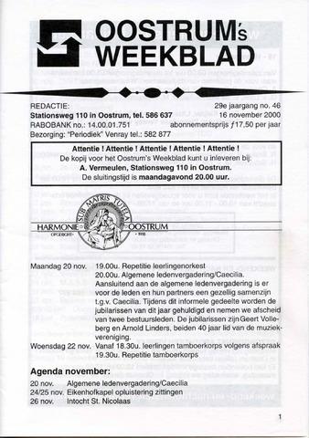 Oostrum's Weekblad 2000-11-16