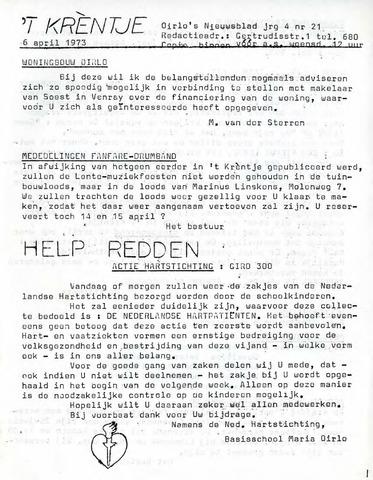 Oirlo's dorpsblad 't Krèntje 1973-04-06