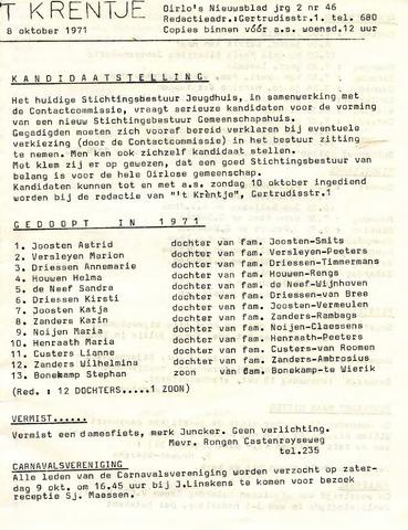 Oirlo's dorpsblad 't Krèntje 1971-10-08