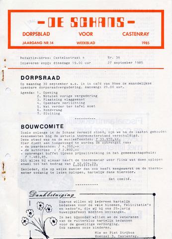 Castenrays dorpsblad De Schans 1985-09-27
