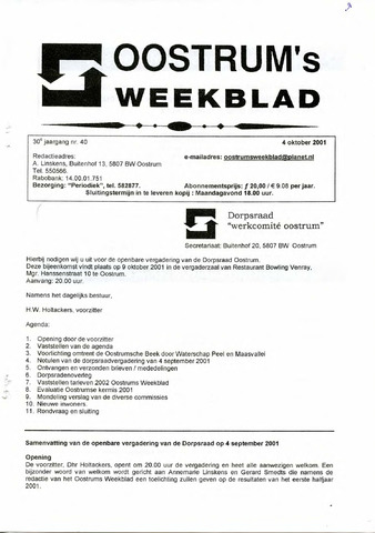 Oostrum's Weekblad 2001-10-04