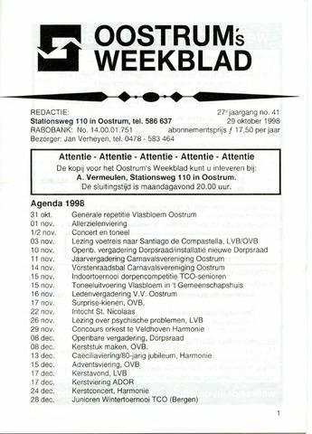 Oostrum's Weekblad 1998-10-29