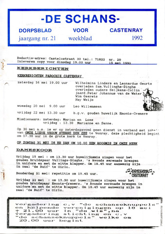 Castenrays dorpsblad De Schans 1992-05-15