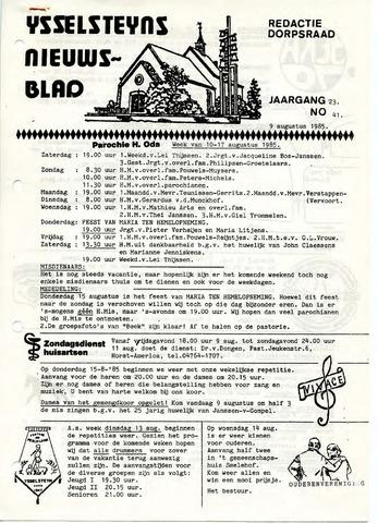 Ysselsteyns Nieuwsblad 1985-08-09