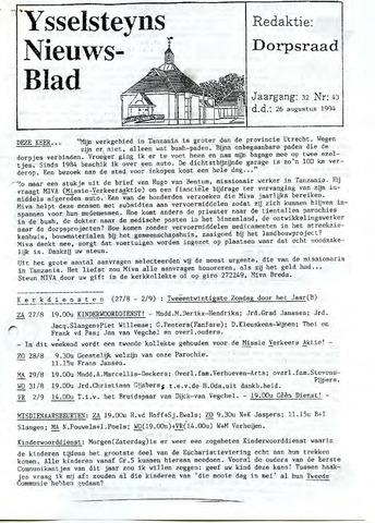 Ysselsteyns Nieuwsblad 1994-08-26