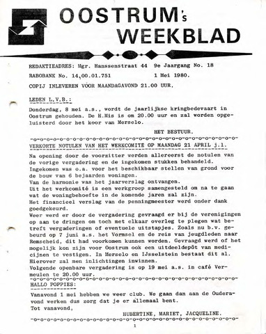 Oostrum's Weekblad 1980-05-01