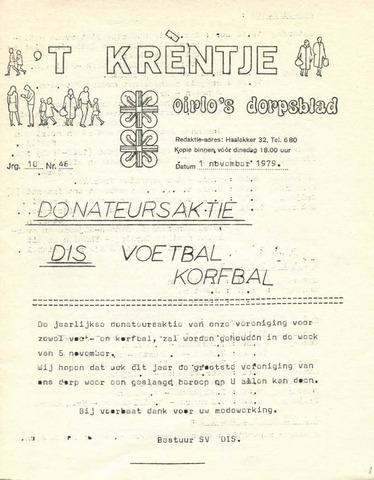 Oirlo's dorpsblad 't Krèntje 1979-11-01