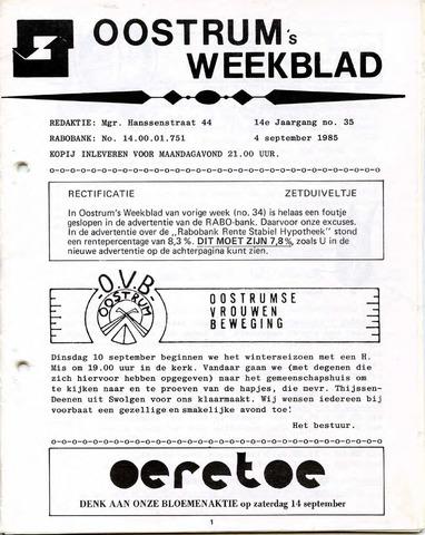 Oostrum's Weekblad 1985-09-04