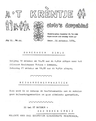 Oirlo's dorpsblad 't Krèntje 1979-10-18