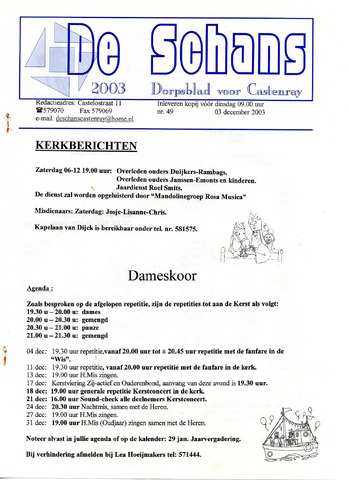 Castenrays dorpsblad De Schans 2003-12-03