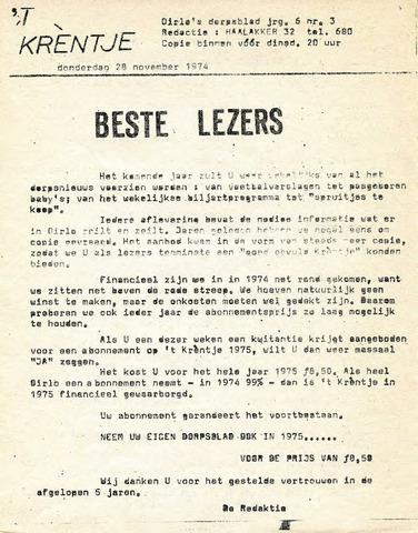 Oirlo's dorpsblad 't Krèntje 1974-11-28