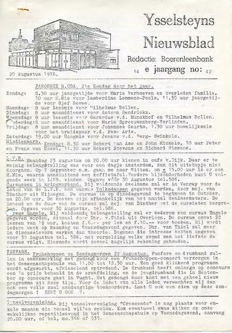 Ysselsteyns Nieuwsblad 1976-08-20
