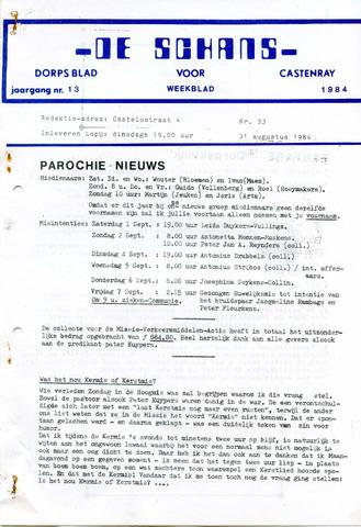 Castenrays dorpsblad De Schans 1984-08-31