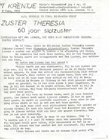 Oirlo's dorpsblad 't Krèntje 1973-02-09