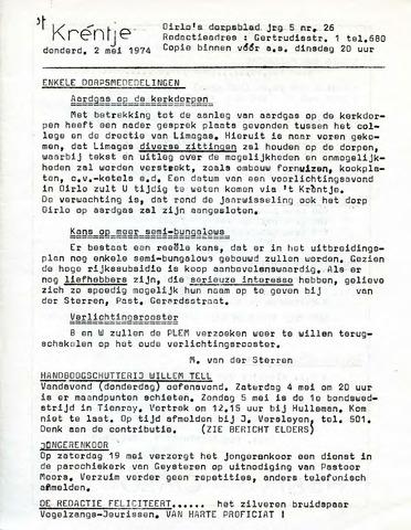 Oirlo's dorpsblad 't Krèntje 1974-05-02