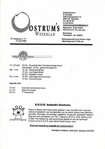 Oostrum's Weekblad 2006-04-27